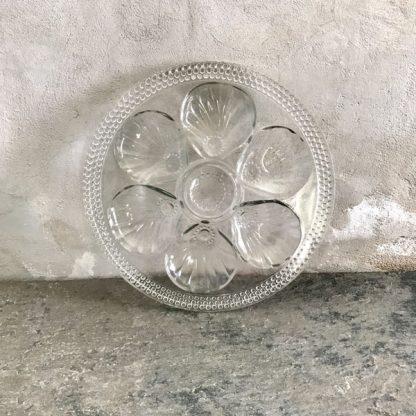 Plat de service vintage en verre, forme coquillages