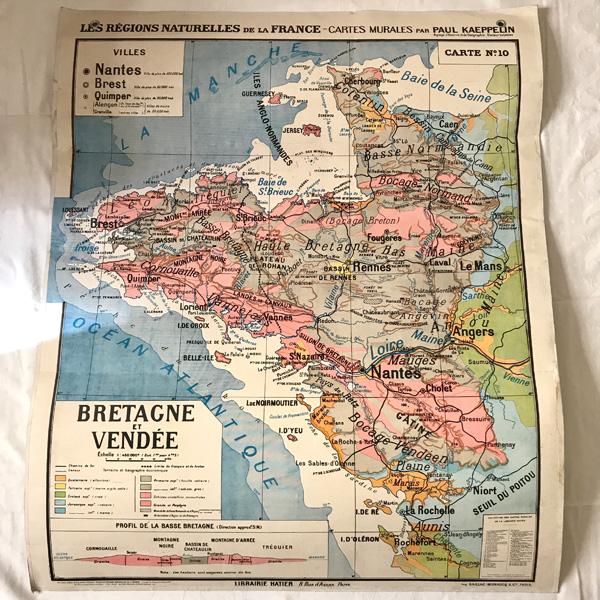 Carte Bretagne Vendee.Carte Scolaire Ancienne Bretagne Et Vendee Brocante Et