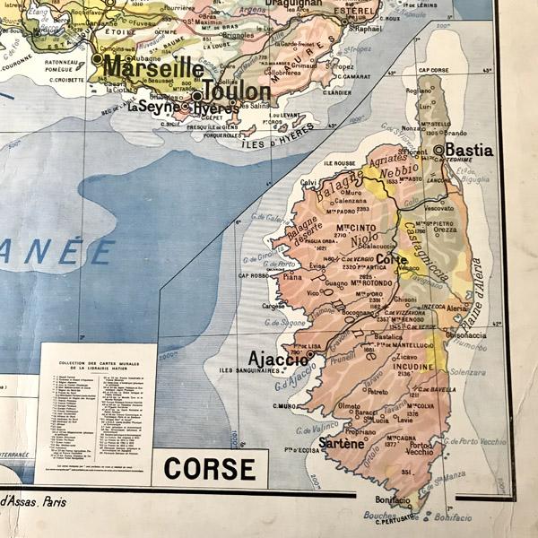 Carte Corse Mediterranee.Carte Scolaire Ancienne Midi Mediterraneen Et Corse