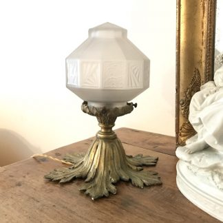 Lampe globe Art Déco et socle en bronze doré, ancienne suspension
