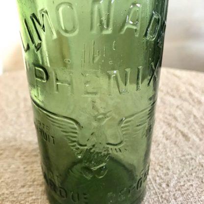 """Bouteille de limonade """"Phenix Marseille"""" en verre vert"""