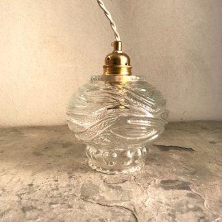 Lampe baladeuse globe vintage en verre transparent