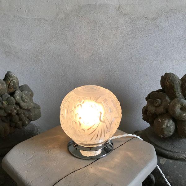 Lampe Globe Blanc Aux Paons Art Deco Muller Freres Brocante Et