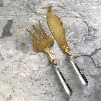 Couverts de service en argent fourré et lames dorées