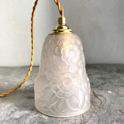 Lampe baladeuse Art Déco signée Primavera, décor de fleurs