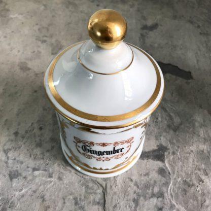 Pot d'apothicaire en porcelaine de Limoges blanc et or