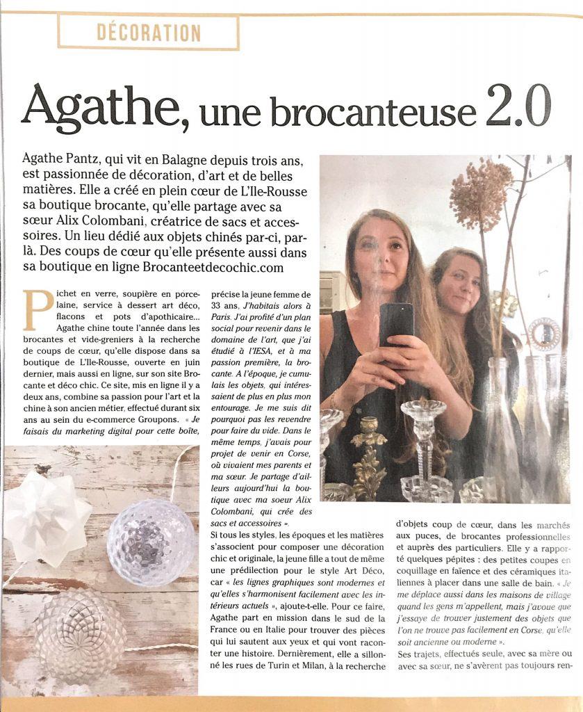Corse Matin - Version Fémina - Mai 2019 Brocante et Déco Chic Agathe Pantz